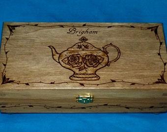 Decorative Wood Tea Box Wood Burned Tea Chest Tea Pot Engraved Wooden Tea Storage Unique Gift