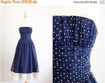 50% OFF DOWNSIZING SALE Vintage 1950's 50s Navy Cream Polka Dot Party Dress Full Skirt Strapless Xs / S Extra Small