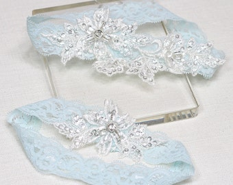 Bridal garter set, lace garter set, blue lace garter set, white lace garter set, wedding garter set