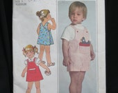 Size 3 Toddler Back Wrap Dress or  Jumper and Overalls, boys and girls, Simplicity 8047, includes pattern for bird shaped stuffed toy, 1977