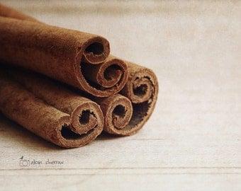 Kitchen Art,  Rustic Farmhouse Wall Decor, Culinary Photography, Neutral Brown   'Cinnamon Scrolls'