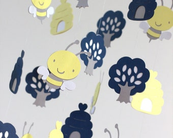 Bumble Bee Nursery Mobile- Baby Mobile, Crib Mobile, Baby Shower Gift