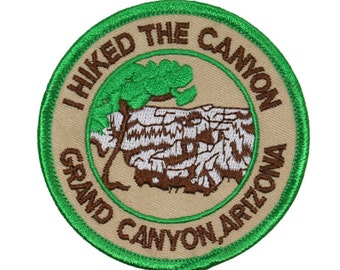 """Souvenir Patch """"I Hiked The Grand Canyon"""" Arizona National Park Iron-On Applique"""