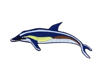 Blue Common Dolphin Patch Marine Aquatic Animal Beach Craft Iron-On Applique