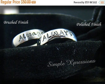 20% OFF - 2 Rings - Matching Promise Rings - Brushed or Polished Stainless Steel Hand Stamped Rings