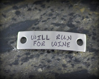 WILL RUN for WINE Personalized Shoe Tag for Runners - Inspirational Jewelry - Running Jewelry