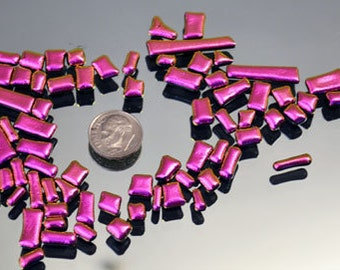 Mosaic Bits & Pieces, Dichroic Tiles, Itsy Bitsy HOT Pink Tiles, Tiny Glass Tiles, Fused Tiles