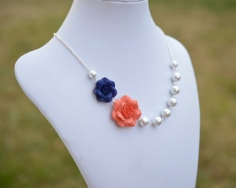 Double Rose Asymmetrical Necklace in Navy Blue and Coral Rose