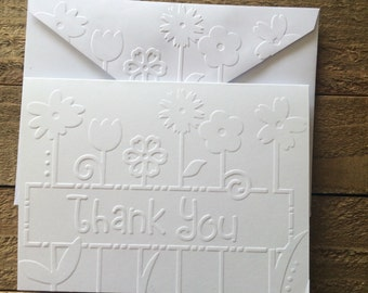 Flower Thank You Cards,  White Embossed Note Cards, Greeting Cards, Stationery Set, Embossed Thank You Cards With Flowers, Blank Cards