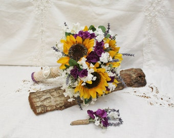 Rustic Wedding, Sunflower Bouquet, Purple Mini Roses and Lavender Rustic Sunflower Bouquet,  Rustic Wedding Bouquet - Brides Bouquet
