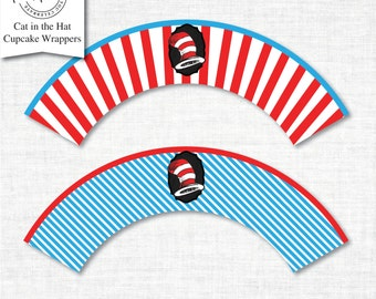 Cat in the Hat Cupcake Wrappers, cupcake wrapper printable, cupcake label printable, Cat in the Hat Party Printable,