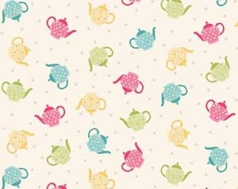 Tea pots / Makower Tea Party / patchwork quilting fabric / fat quarter