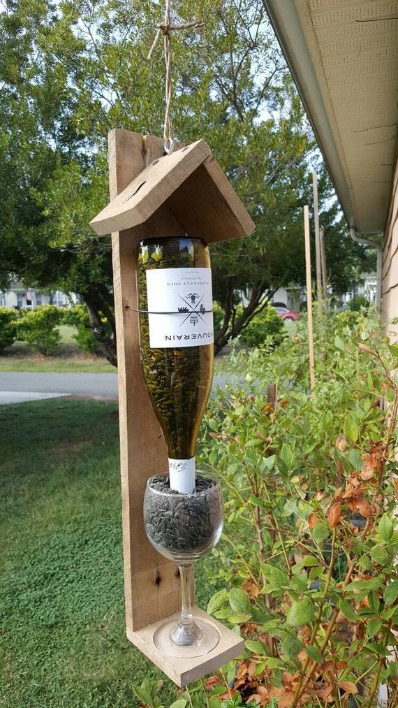 Wine Bottle Bird Feeder Reclaimed Wood Bird Feeder Red Wine