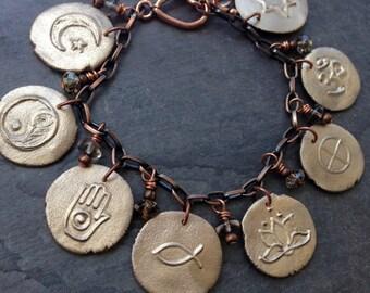 universal truth spiritual symbols mixed metals bracelet