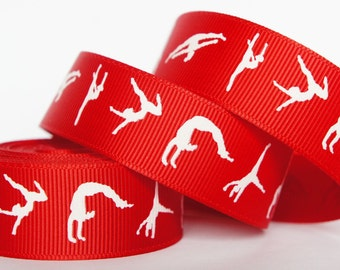"10Yd White Gymnastics 7/8"" Red Grosgrain Ribbon Craft/Scrapbook/Bow"