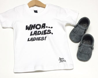 "Boys - Short Sleeve Tee - ""Whoa ladies"" - organic cotton"