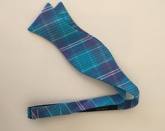 Men and Teen's Blue and Purple Plaid Bow Tie