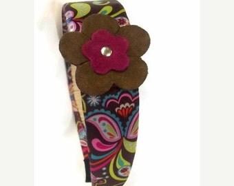 FALL SALE, Retro  Flower Headband - Mod Hair Accessory - Satin Fabric Headband - Hippie Hair Band