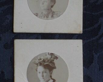 Girls & Woman With Fantastic Hats - 3 Antique Miniature Victorian Cabinet Card Photos - Paper Ephemera - 1890s
