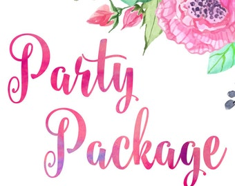 Party Package - Any theme in my store - DIY Printable Files - Pack Kit Banner Invitation Cupcake Toppers Diaper Raffle Wrapper