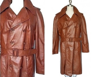 Vintage 70's Leather Trench Coat  1970s Brown Rockabilly Coat  Mens Medium 40 R Long Leather Coat