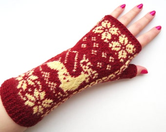 Wool fingerless gloves,merino wool gloves,womens wrist warmers,maroon fingerless mittens,winter fashion accessories,Christmas gift for Her