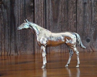 High Shine Stallion - Vintage 1930s Jennings Brothers Classic Metal Thoroughbred Horse in Medium