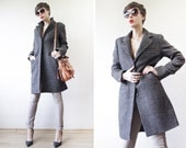 CHLOE classic brown plaid wool single breasted women fall cocoon coat S