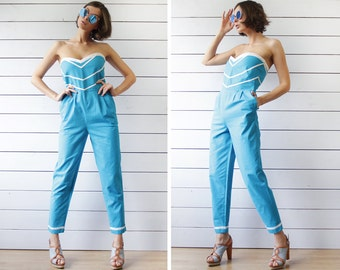 70s vintage retro sky blue white cotton strapless onepiece overall romper jumpsuit M