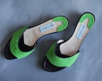 STEFI TALMAN vintage green fur leather low heel slip on mules summer sandal shoes Size 38 8