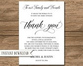Rustic Wedding Thank You Card Template, Thank You Sign - editable PDF file -  Instant Download - Rachel