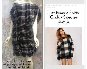 Plaid soft wool dress with two front pockets