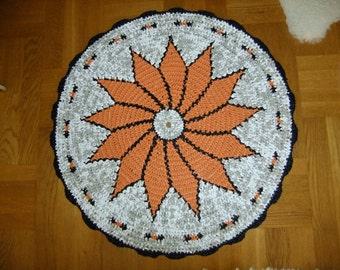 Vintage Swedish hand made crochet round plastic mat with orange star