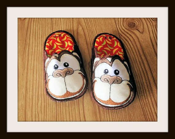 monkey bedroom slippers kids slippers house slippers made to order