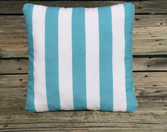 Aqua Pillow, Aqua Striped Pillow, Beach House Pillow, Beach House Decor, Nautical Pillow, Nautical Decor, Aqua Cushion, Accent Pillow