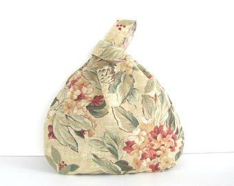 Large Knitting Bag Crochet Project Bag Floral Tote Bag, Gift for Knitters, Japanese Knot Bag