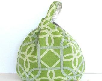 Celtic Green Knitting Project Bag, Knitting Bag, Tote Bag - Grill Pattern Handbag