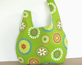 Market Bag, Japanese Knot Bag, Knitting Tote Bag Lime Green, Flower Medallions