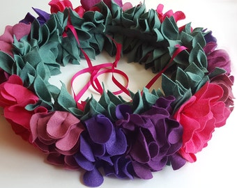 Purple baby mobile, felt flower wreath, floral baby mobile, bohemian flower mobile, nursery decor, flower chandelier, felt flower mobile