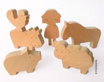 Wooden Toy Farm Animals - Farm set - Barnyard farm animals