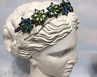Mermaid flower crown, blue green flower tiara, mermaid flower tiara, mermaid flower headband, mermaid flower gift, Art Deco headband,