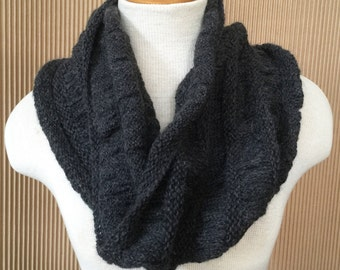 Charcoal, Ruched Baby Alpaca Neck Cozy
