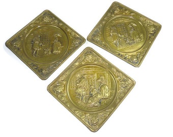3 Embossed Brass Wall Hangings or Pictures