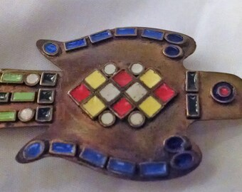 Brooch Vintage Handmade Eagle Metal Enamel Work Multi Color Unique Tribal Ethnic Boho Chic Bold Statement May Be Worn on a Chain Signed