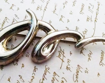Brooch Vintage Squiggle Abstract Sterling Silver 925 Signed Big Bold Statement Gift for Her