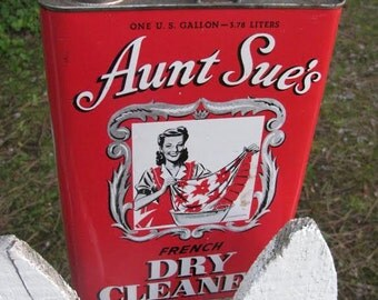 Aunt Sue's Vintage Tin Gallon Size French Dry Cleaner Graphic Tin Lady Washing Linen Enamel Free USA Shipping and Tracking Included in Price