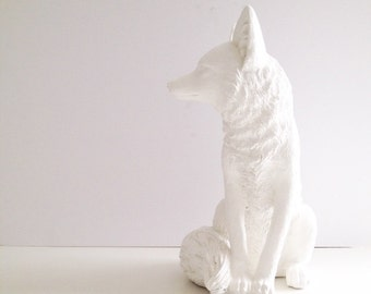 Faux Large Fox Animal Statue in WHITE:  table top animal statue / farm house decor / home decor nursery decor / office unique woodland gift