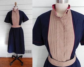 1970s navy blue tan and purple day dress / Large to Extra Large vintage short sleeve shirtdress / pintuck color block dress