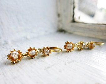 Antique 10K Gold Flower Dangle Earrings with 6 Brilliant Cut Diamonds and Leverback Locks