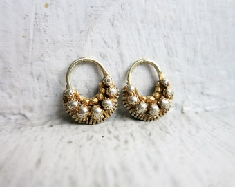 RESERVED- Tiny Antique Creolla Criolla Earrings in Silver Gold Plated Finish from the Philippines